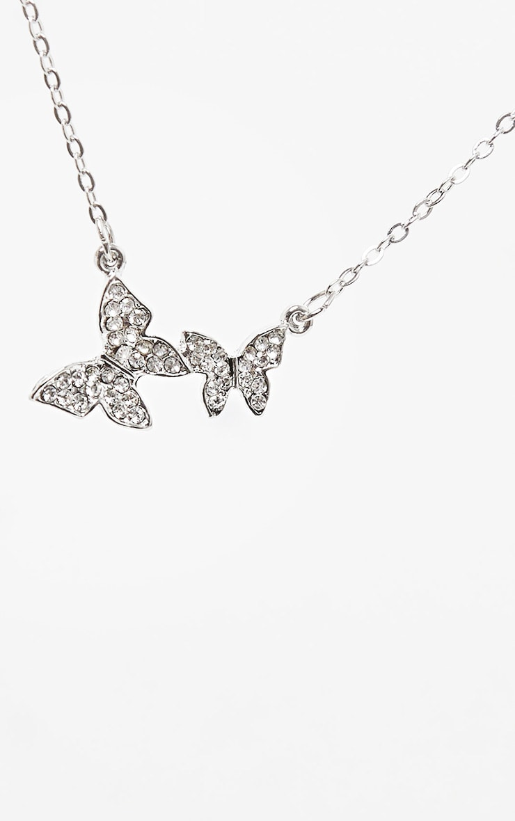 Silver Diamante Butterfly Drop Necklace 3
