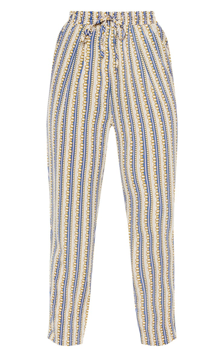 Cream Chain Printed Cigarette Trouser 3