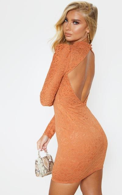 Chestnut Lace High Neck Open Back Bodycon Dress