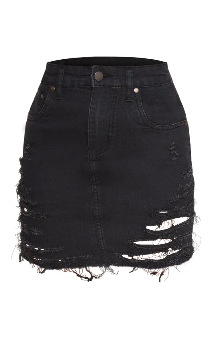 Petite Black Super Shred Denim Mini Skirt 3