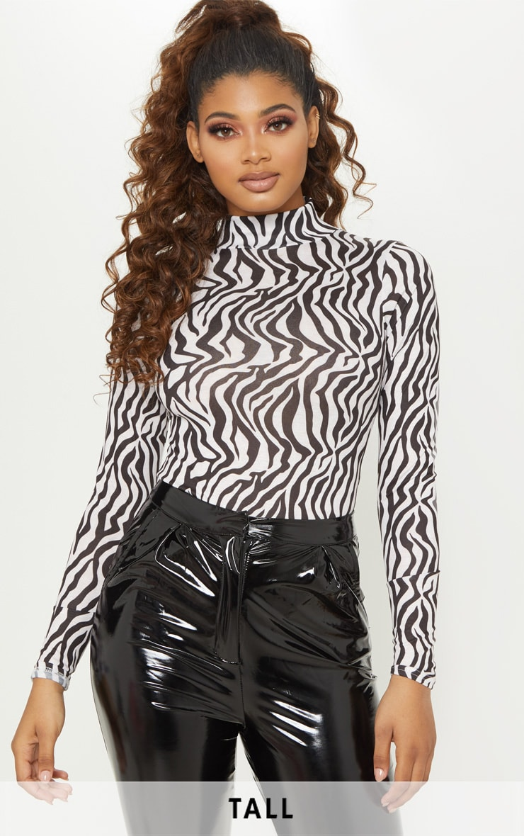 Tall White Zebra Print Roll Neck Bodysuit 1