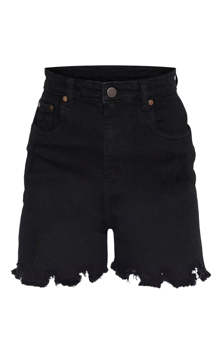 Petite Black Distressed Denim Shorts 3