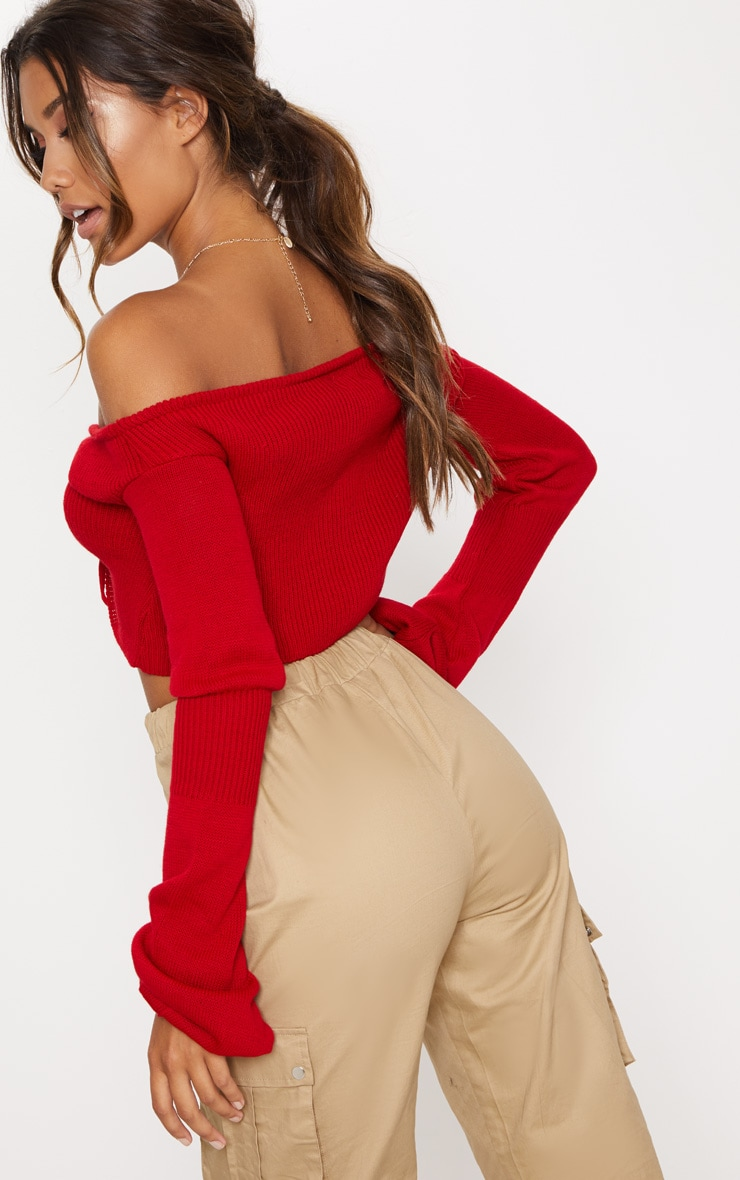Red Ruched Knit Extreme Sleeve Crop Sweater 2