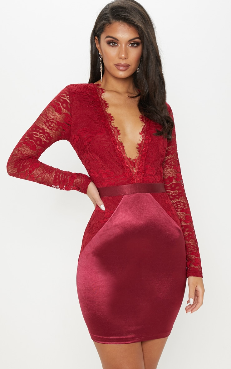 f1b36546d4eb5 Burgundy Lace Top Satin Bodycon Dress image 1