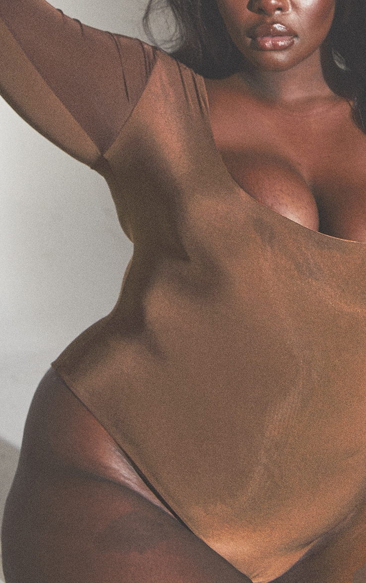 Plus Second Skin Toast Scoop Neck Long Sleeve Bodysuit 4