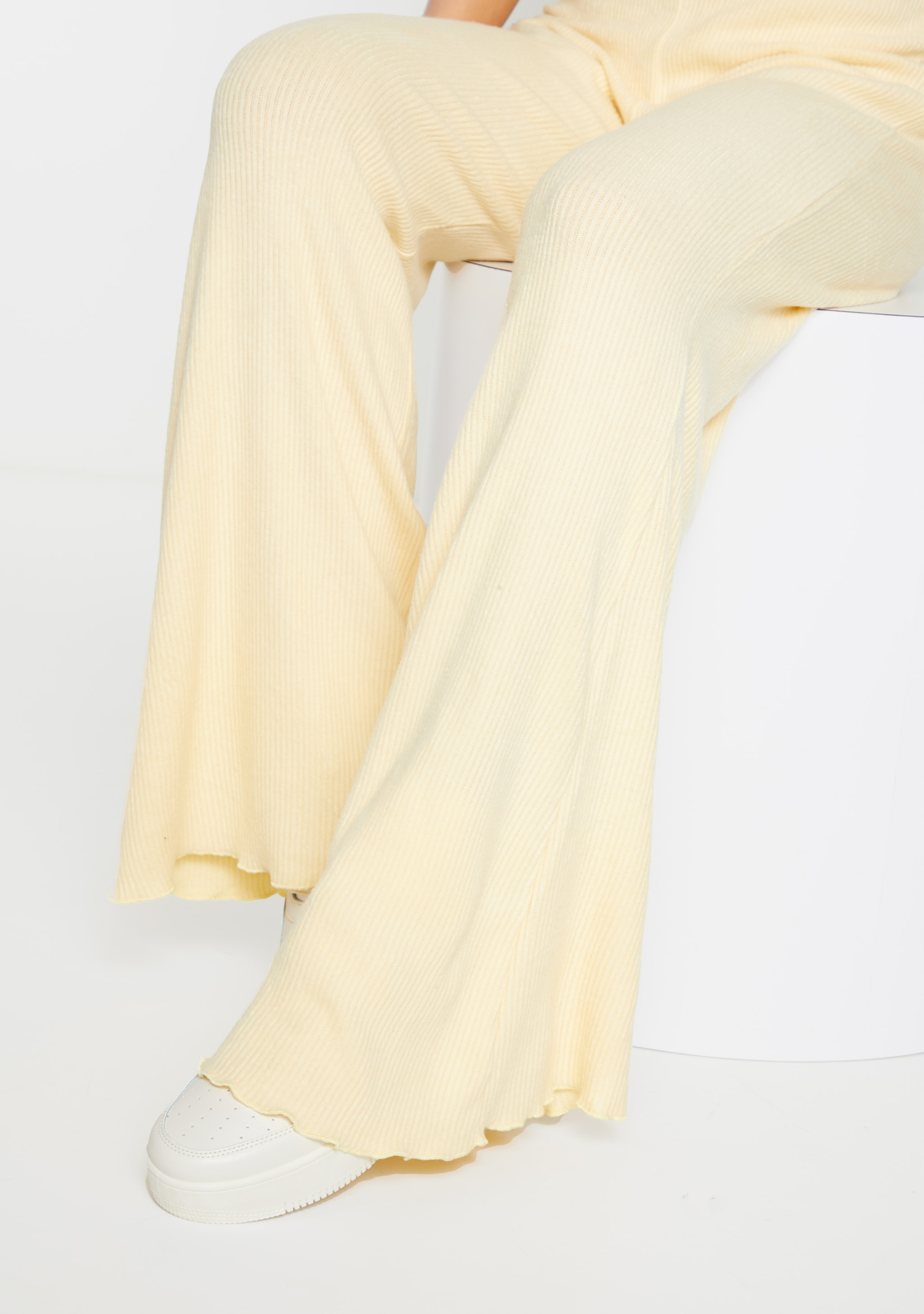Sand Brushed Rib Frill Hem Wide Leg Trousers 4