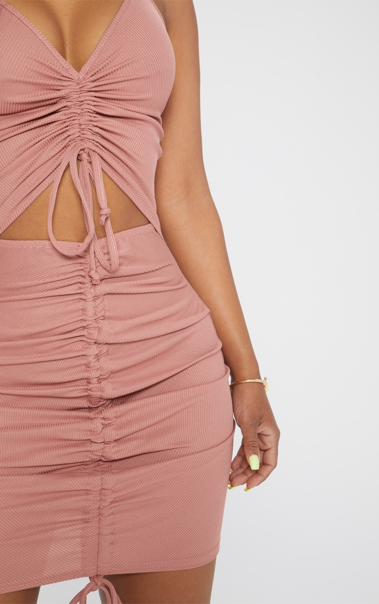 Shape Rose Ribbed Ruched Cut Out Bodycon Dress 5