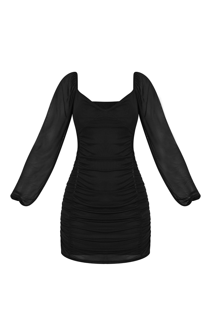 Black Mesh Double Ruched Long Sleeve Bodycon Dress 5