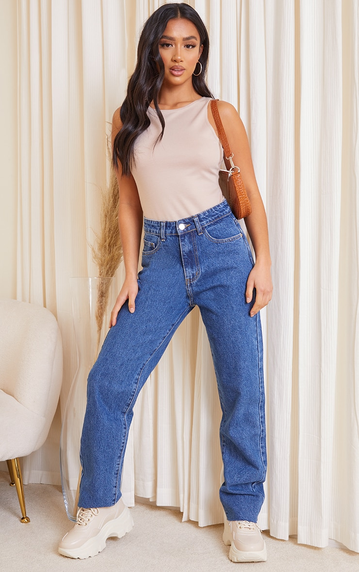 PRETTYLITTLETHING Petite Mid Blue Wash Long Leg Straight Jeans 1