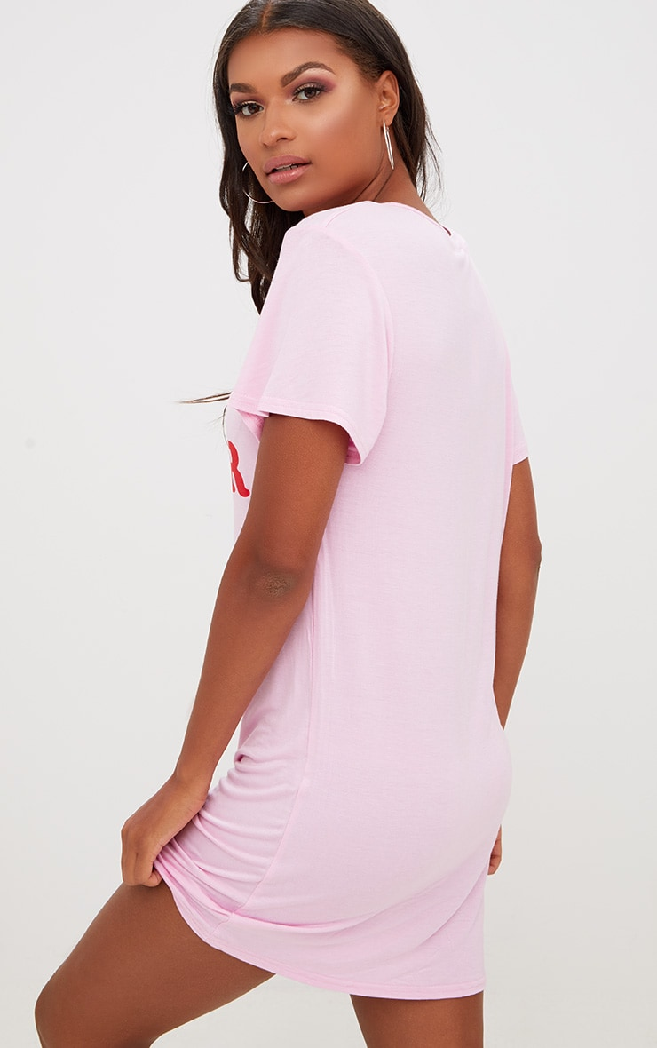 Pink Girl Power T Shirt Dress 2