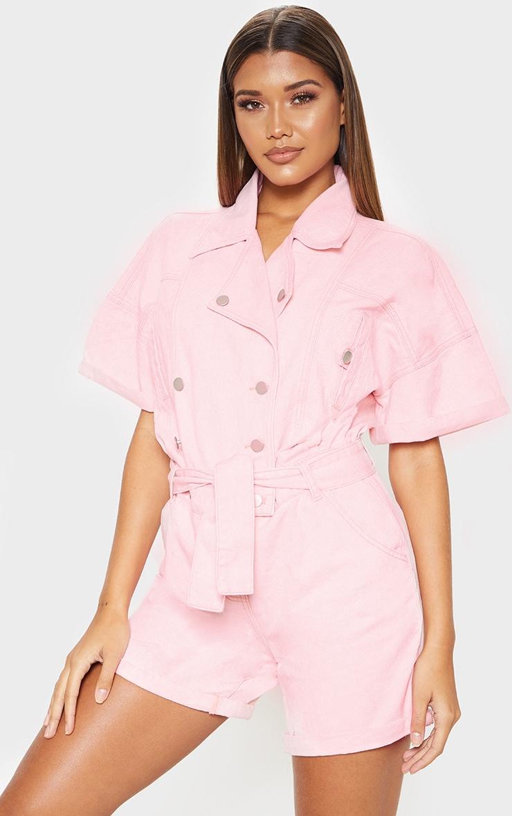 Pink Popper Detail Tie Waist Denim Romper  1