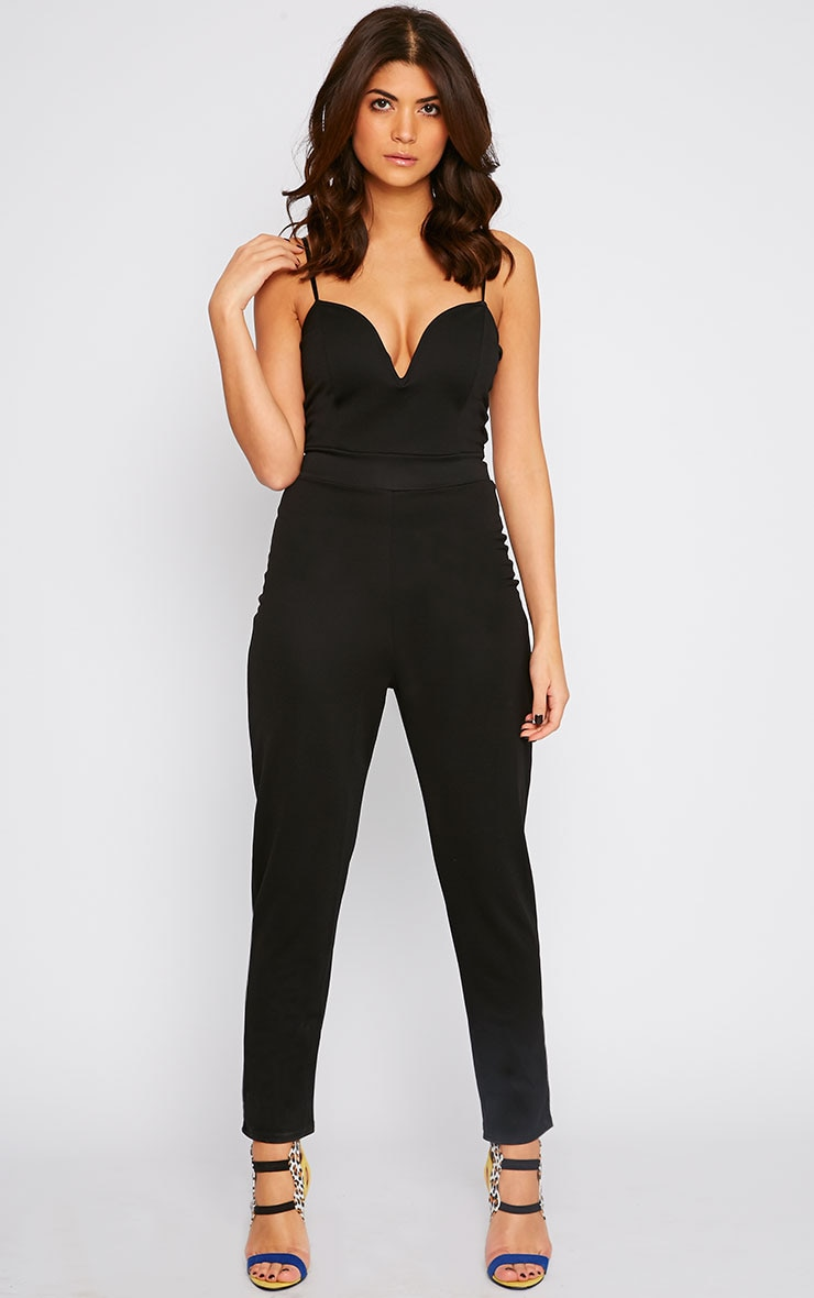 Hannah Black Sweetheart Plunge Jumpsuit 4