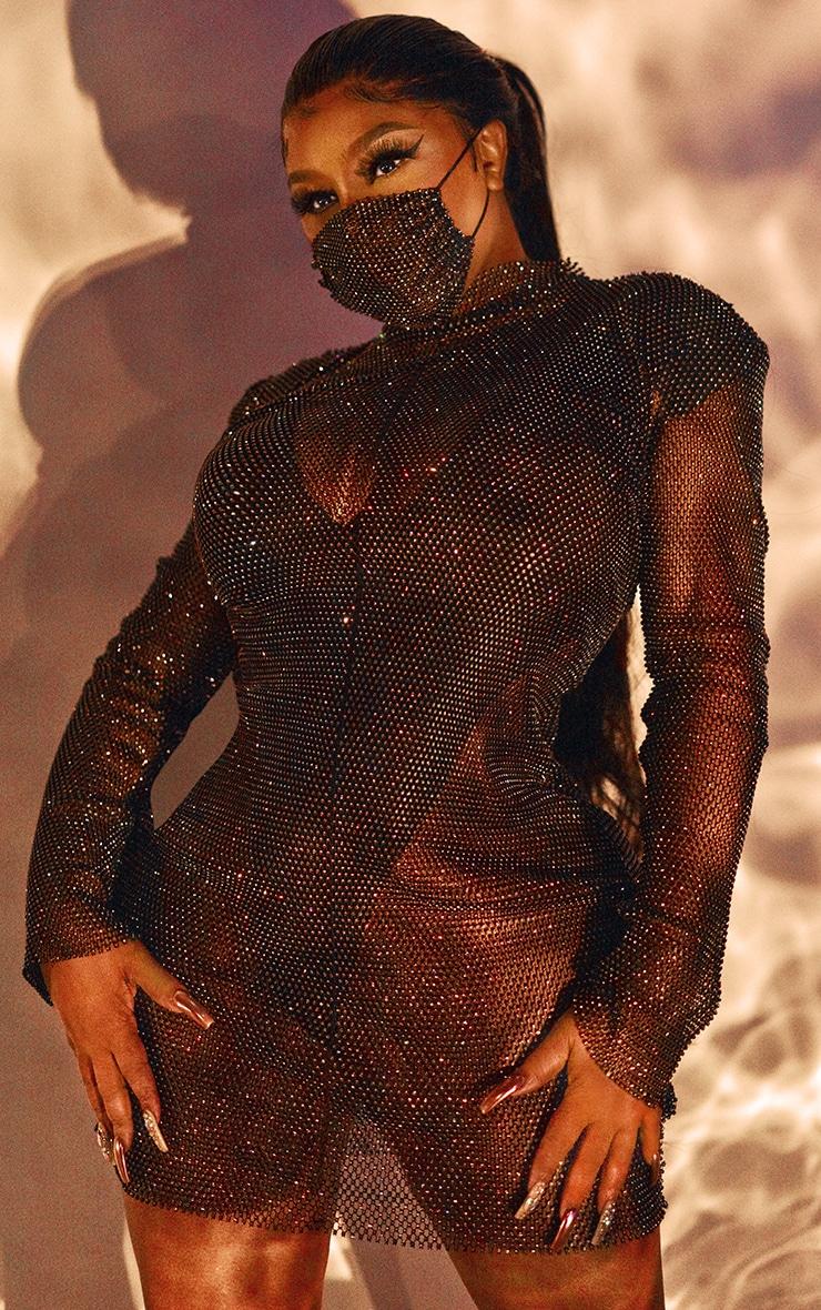 Black Diamante Mesh Bodycon Dress 4