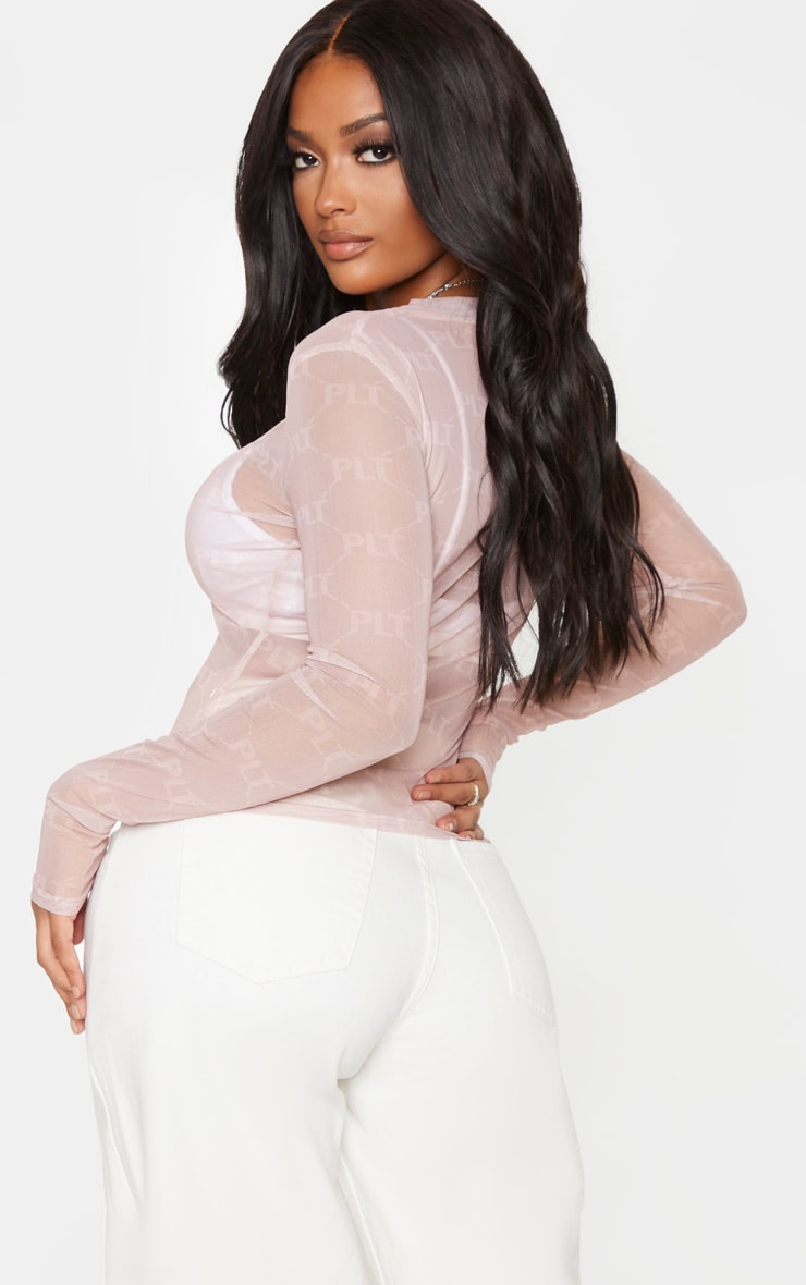 PRETTYLITTLETHING Shape Nude High Neck Top 2