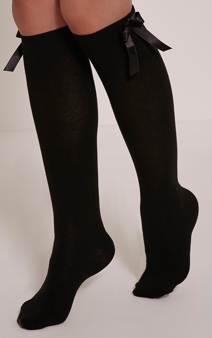 Vivie Black Bow Knee High Socks 1
