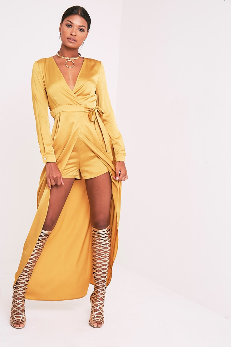 Kallie Dark Gold Wrap Detail Satin Maxi Playsuit 2