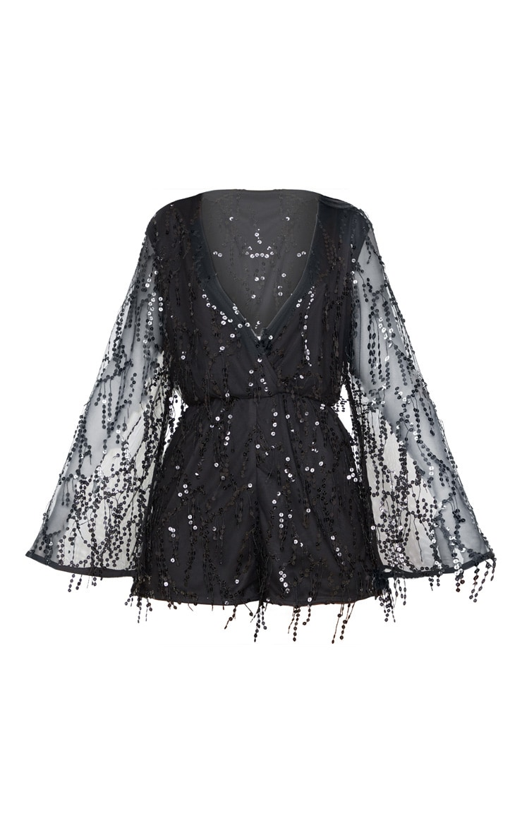 Black Sequin Wrap Playsuit 3