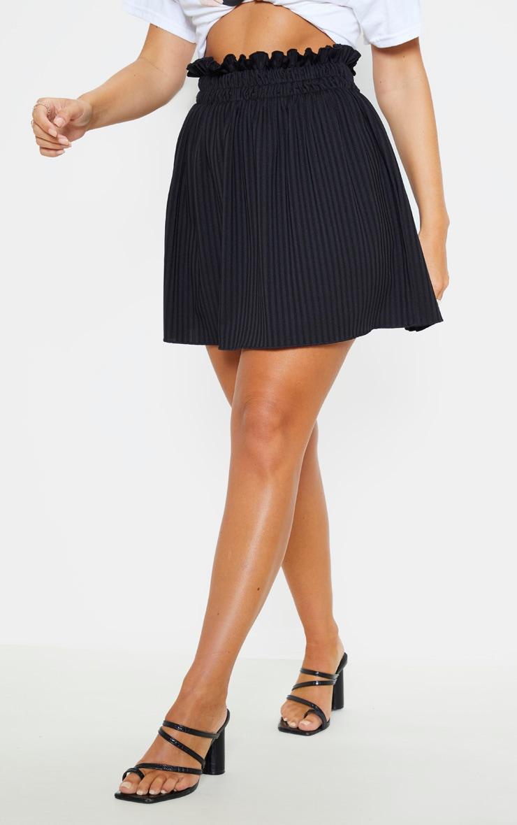 Black Ribbed Shirred Waist Band Skater Skirt 2