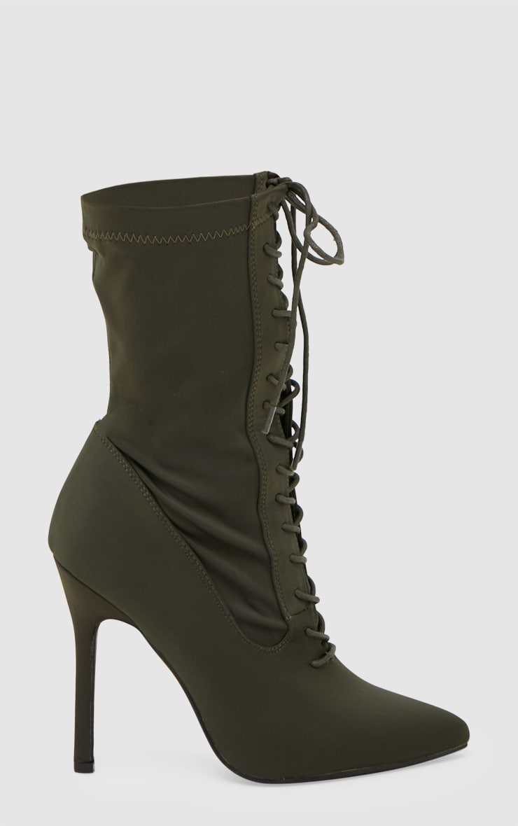 Khaki Lycra Lace Up Ankle Boot 3