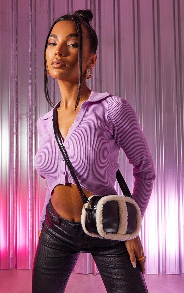 Black PU Cream Borg Trim Cross Body Bag 1