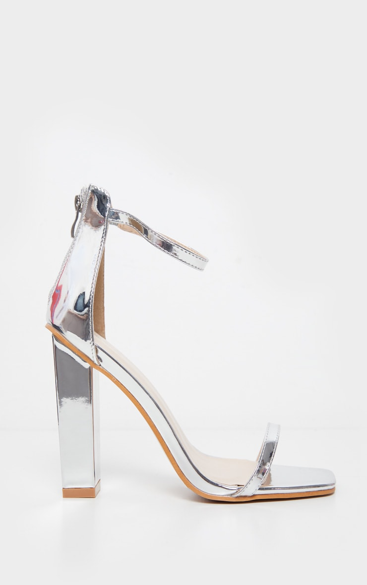 Silver Square Toe High Block Heel Sandal 3