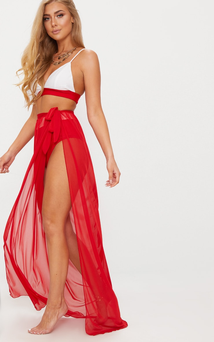 Red Tie Side Maxi Beach Skirt 5