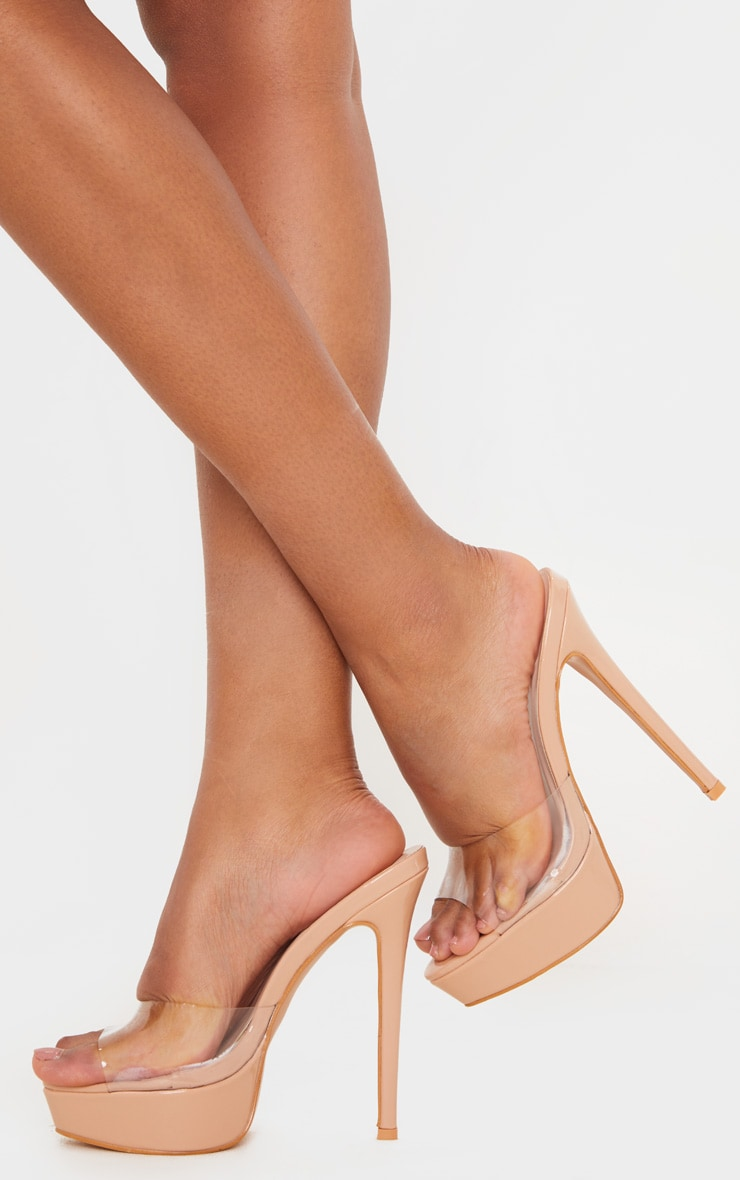 Nude High Platform Clear Mule Sandals 2