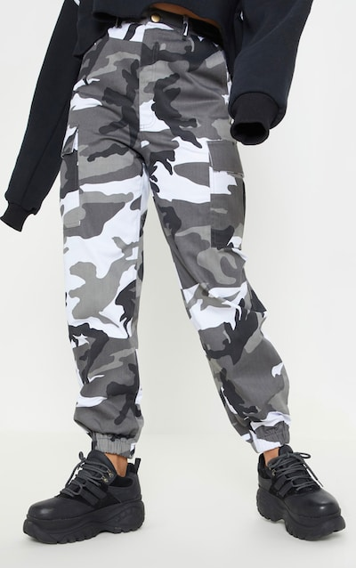 Petite Grey Camo Printed Cargo Trousers