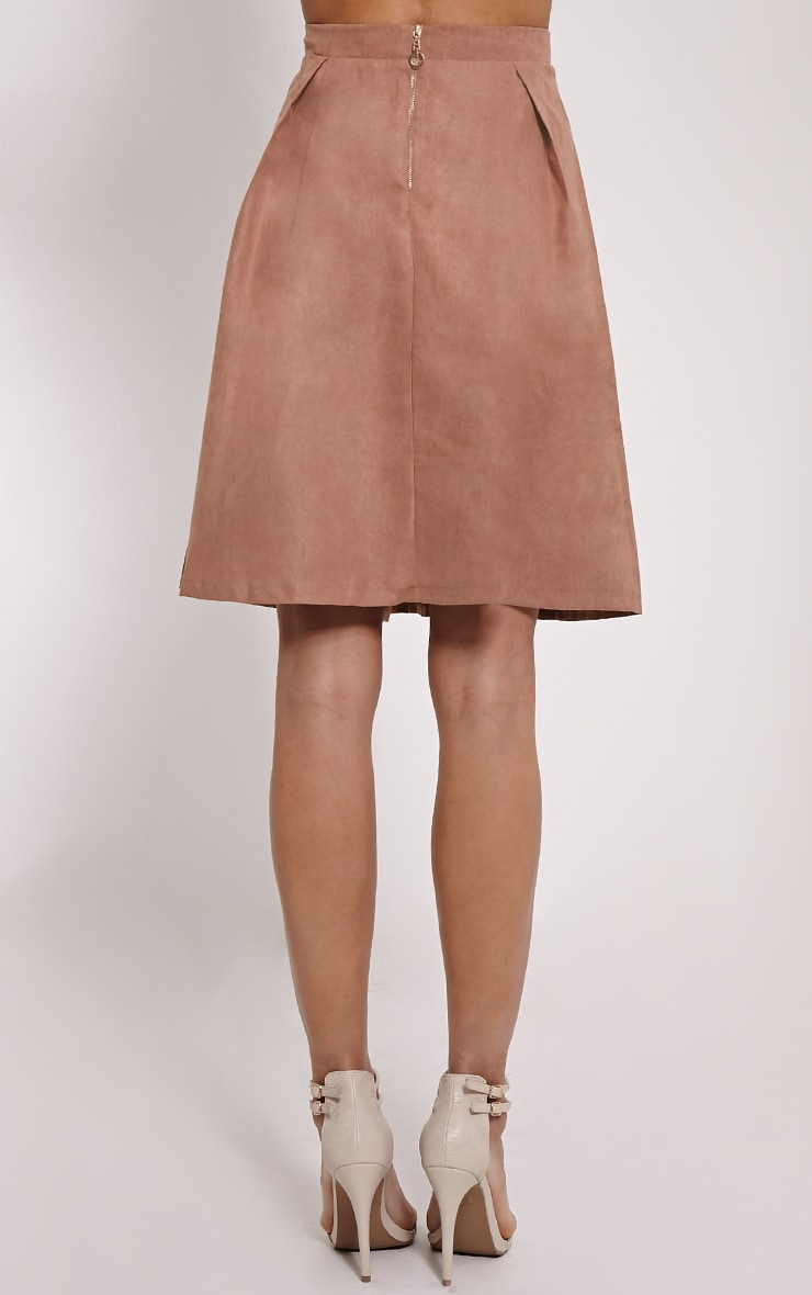 Teagon Tan Pleated Faux Suede A-Line Midi Skirt 4