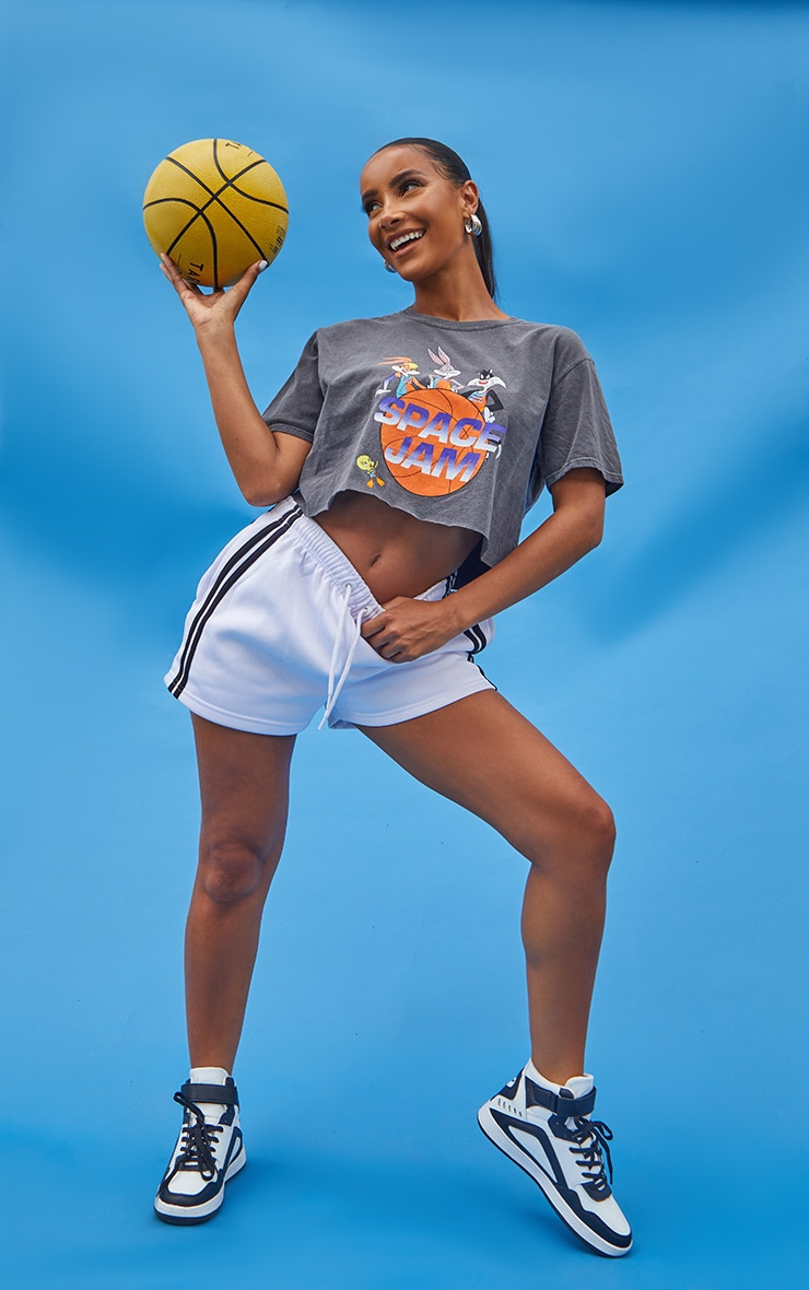 Charcoal Space Jam Printed Crop Washed T Shirt 1