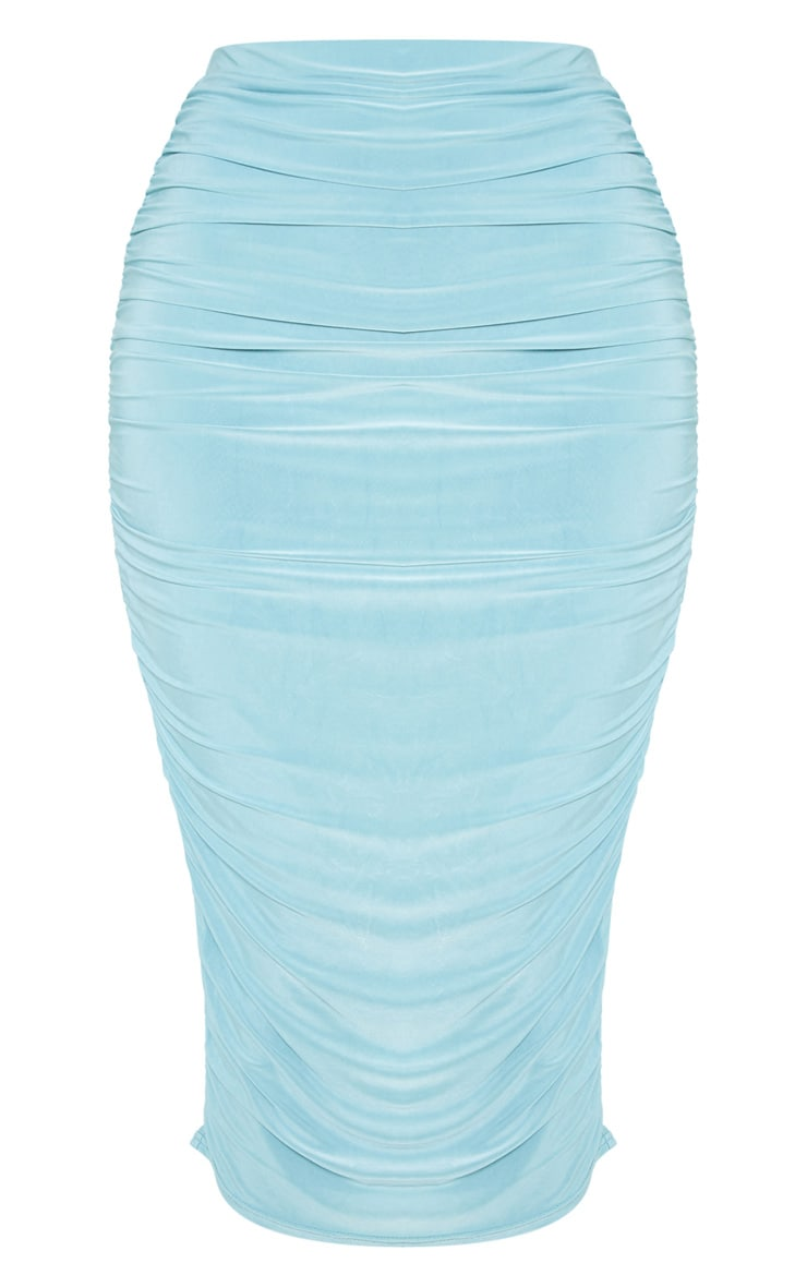 Dusty Turquoise Slinky Second Skin Ruched Midi Skirt 3