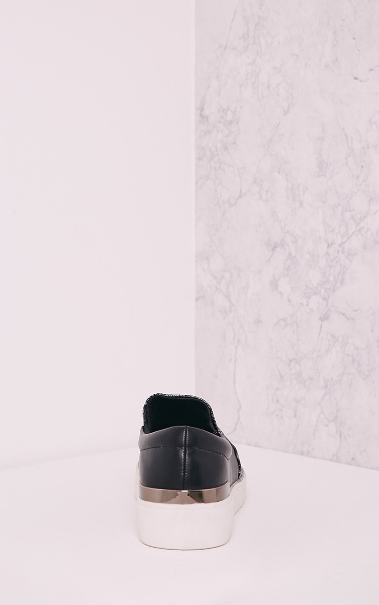 Ania Grey Faux Snake Skin Slip On Trainers 4
