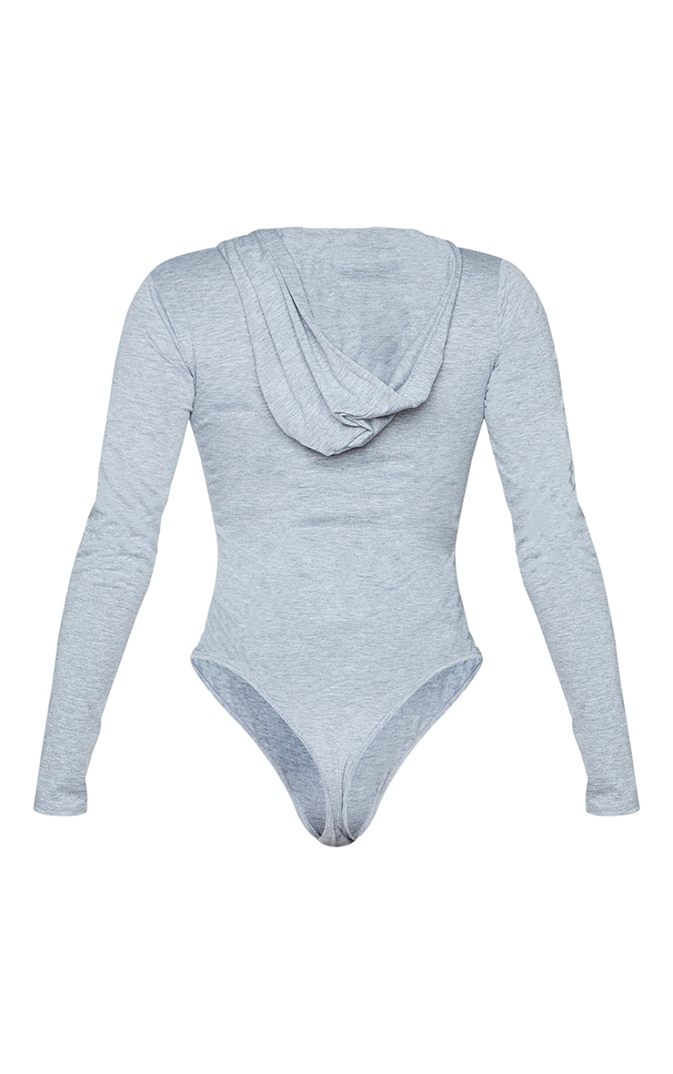 Grey Jersey Button Up Hooded Bodysuit 5
