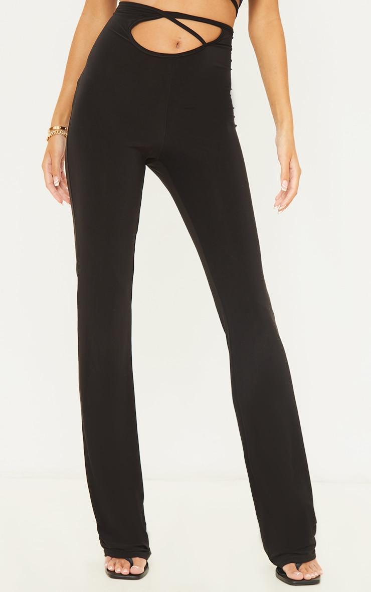Black Slinky Cross Front Leggings 2