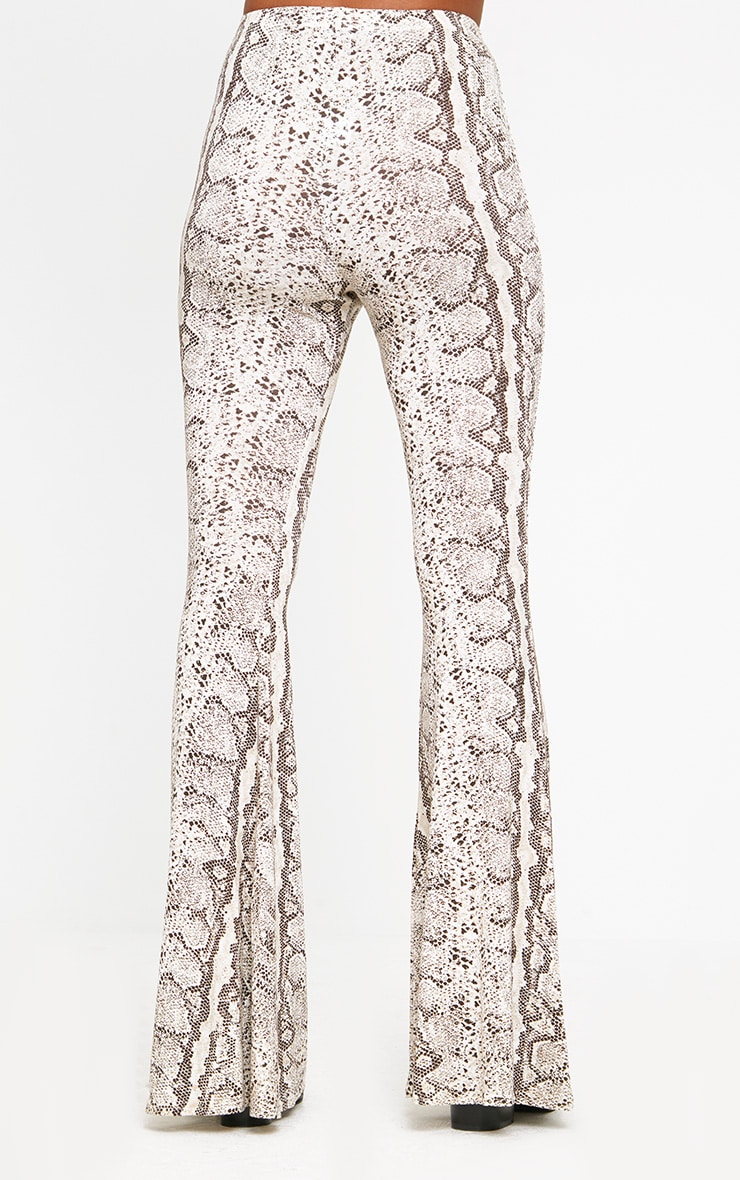 Taupe Snake Print Flared Trousers 4