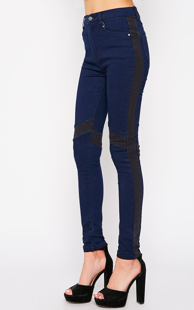 Bianca Blue Skinny Jean with Black Panel 3