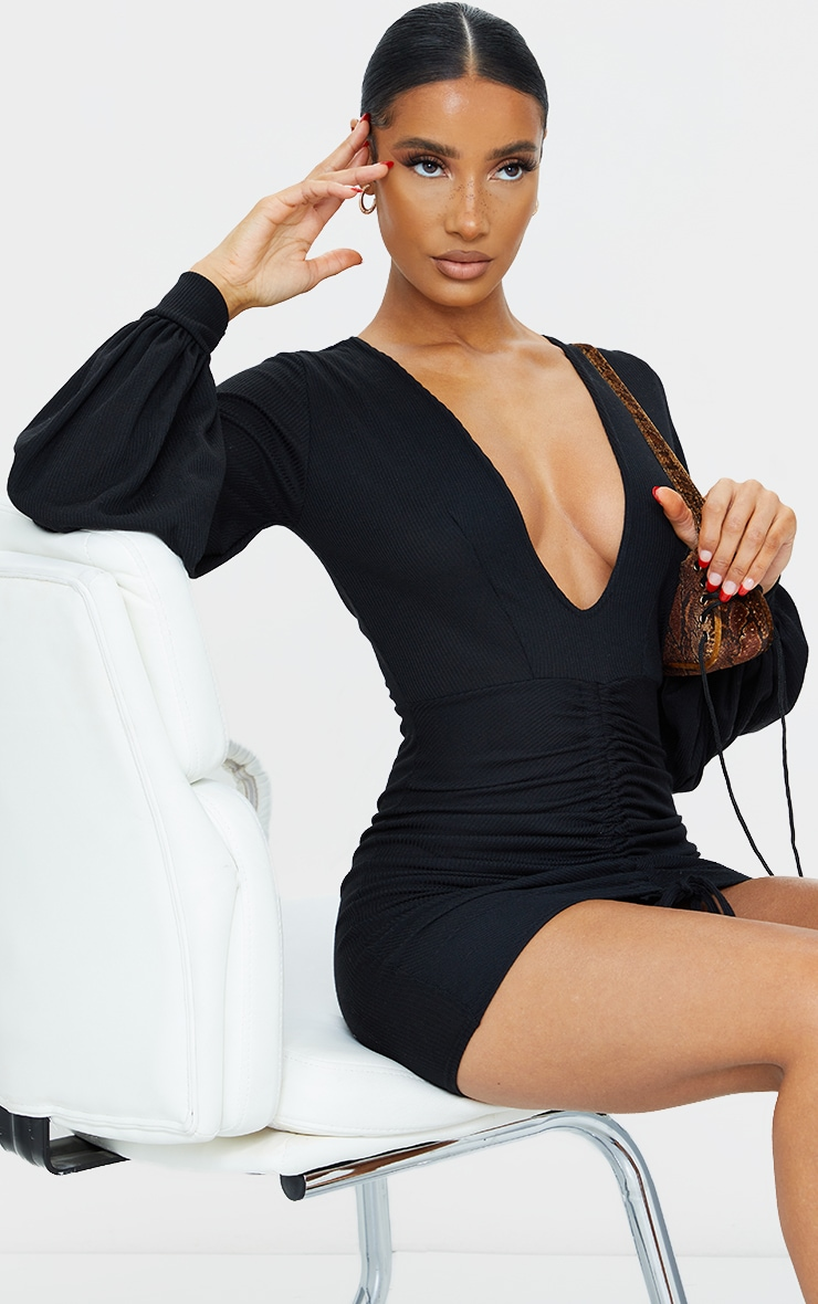 Black Ribbed Plunge Ruched Balloon Sleeve Bodycon Dress 1