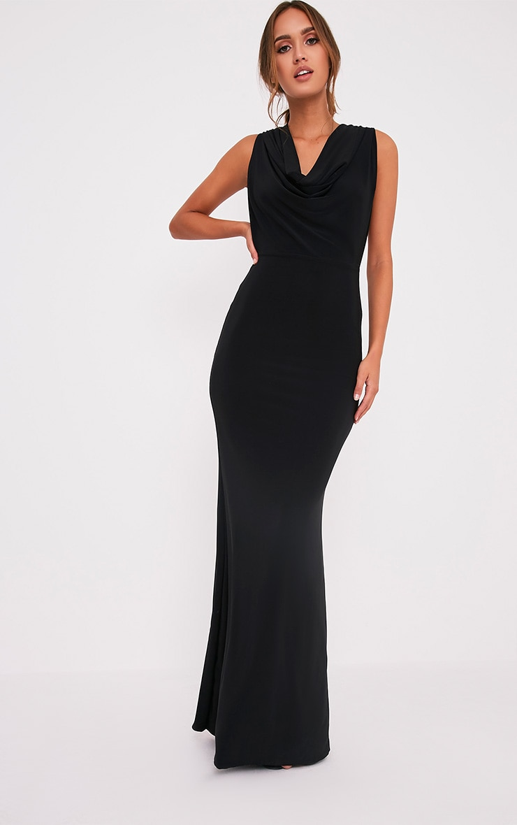 Sharnia Black Slinky Cowl Front Maxi Dress 1