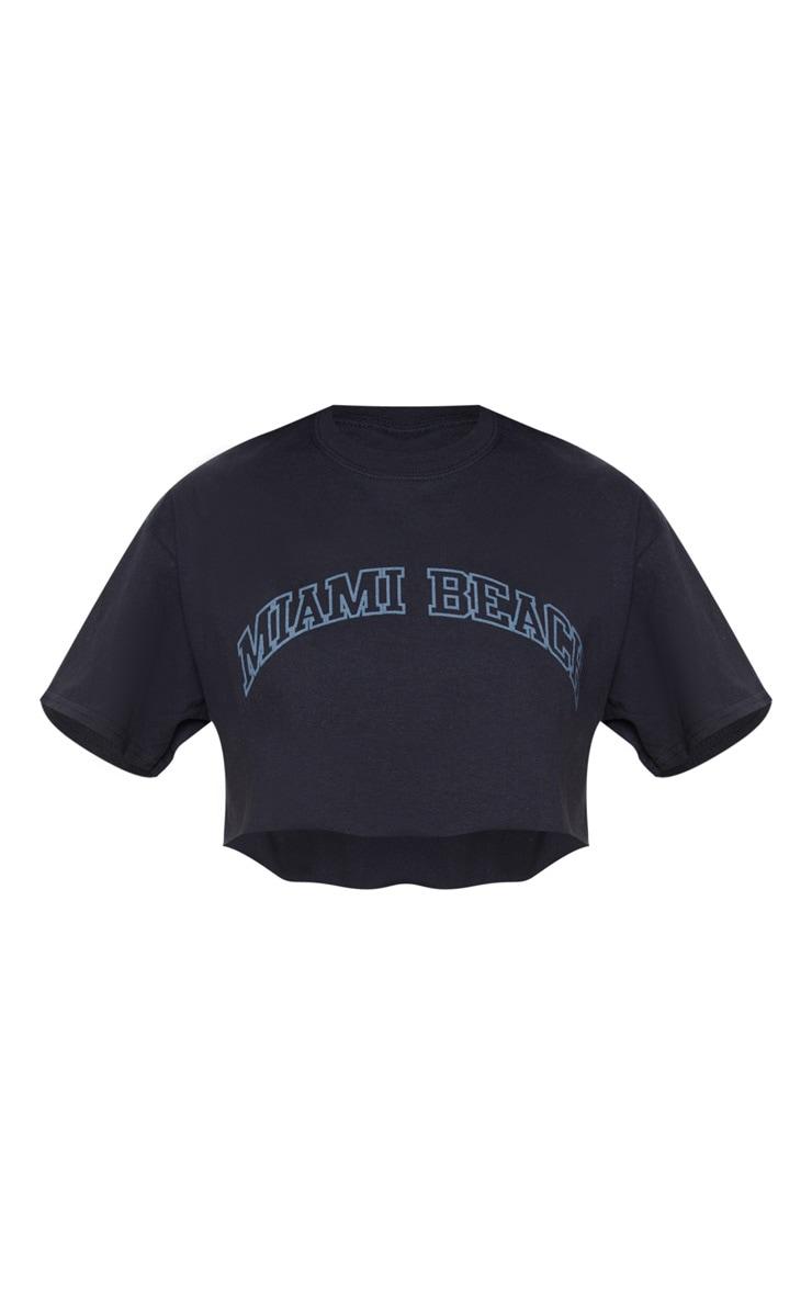 Black Miami Beach Slogan Crop T Shirt 3