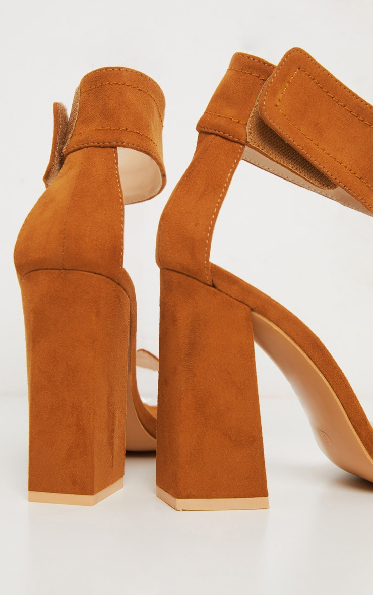 Tan Ankle Cuff Block Heel Sandal 4