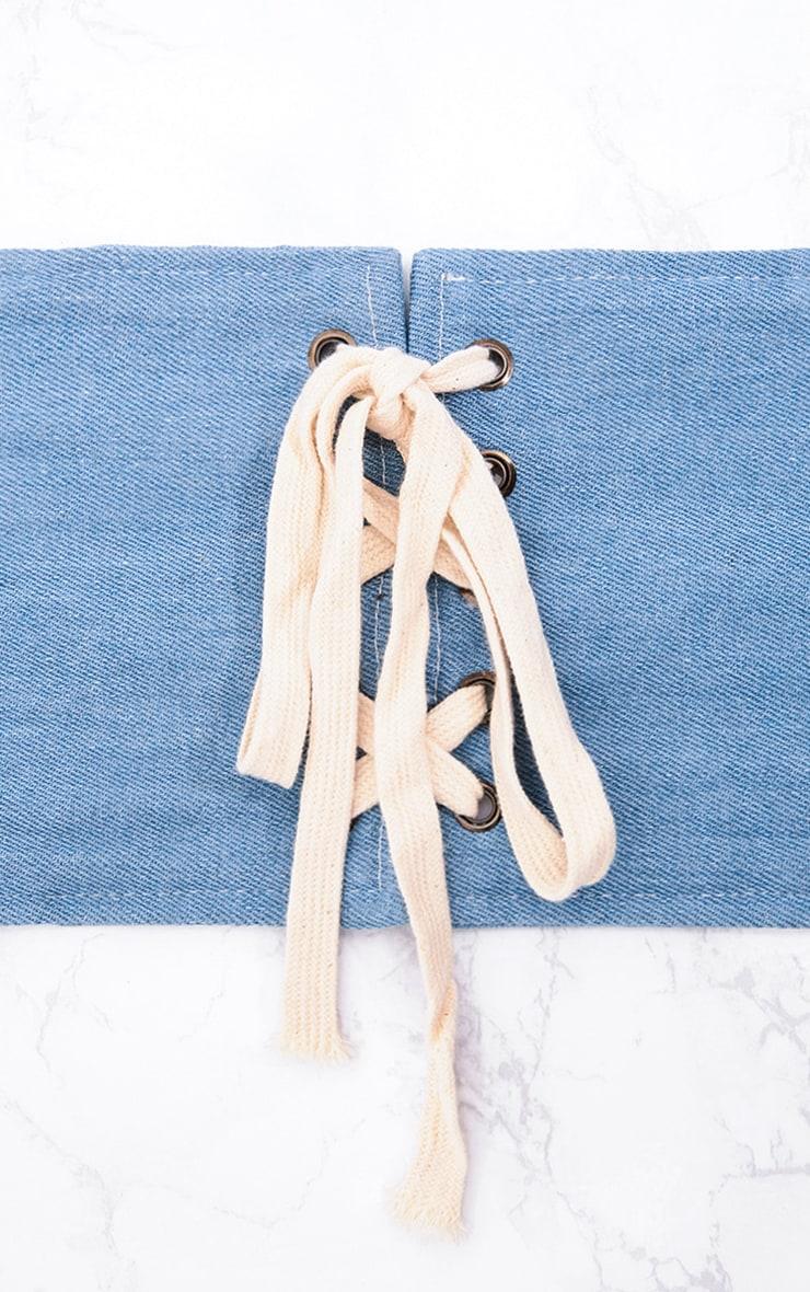 Blue Lace Up Denim Corset Belt 5