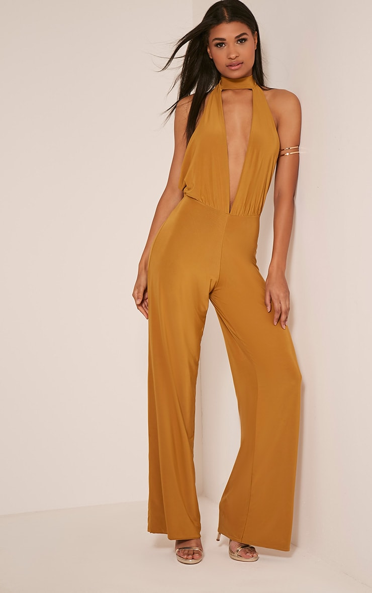 Laurie Gold Backless Choker Detail Slinky Jumpsuit 6