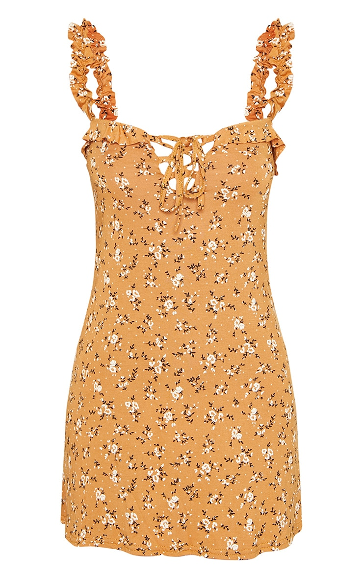 Tan Floral Print Frill Detail Shift Dress 3