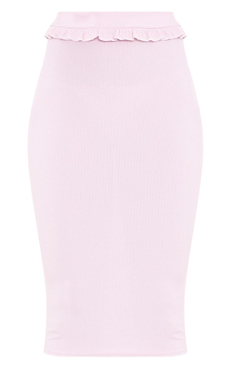 Kaiya Lilac Frill Waist Rib Midi Skirt  3