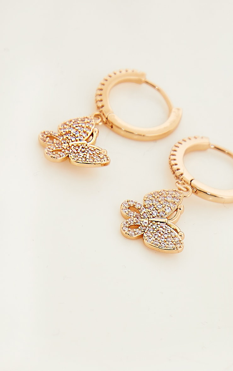 Gold Mini Hoop With Butterfly Earrings 3