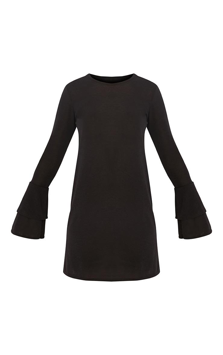 Marlini Black Double Frill Sleeve Knitted Mini Dress 3
