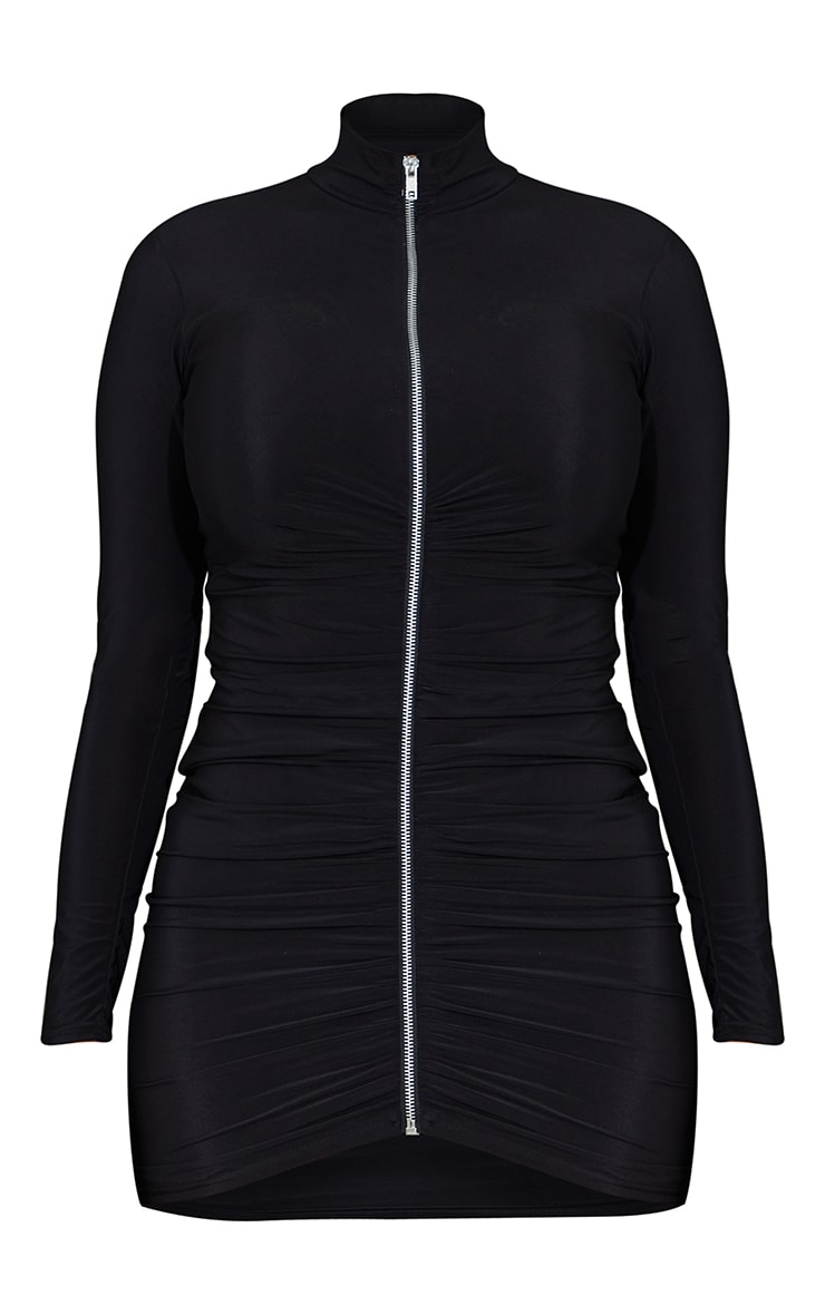 Shape Black Slinky Zip Front Collar Detail Bodycon Dress 5