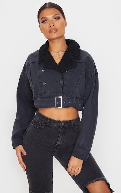 Washed Black Borg Collar Cropped Denim Jacket