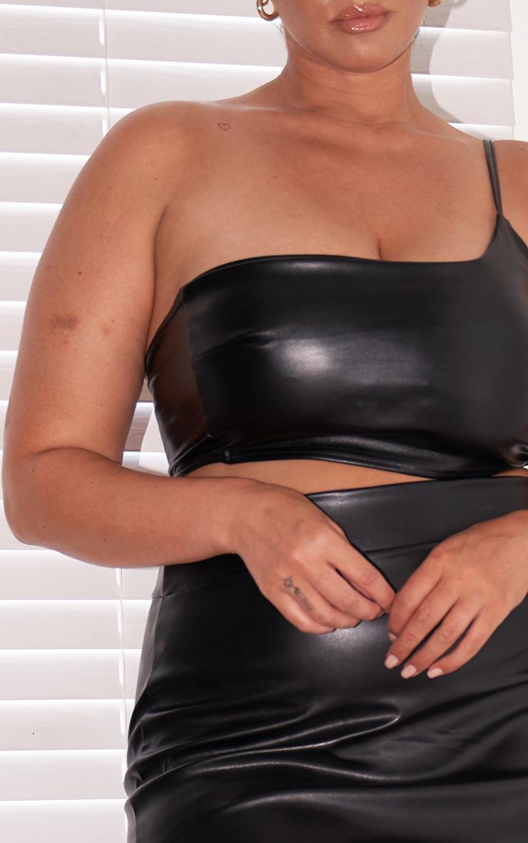 Plus Black Basic Faux Leather Mini Skirt 4