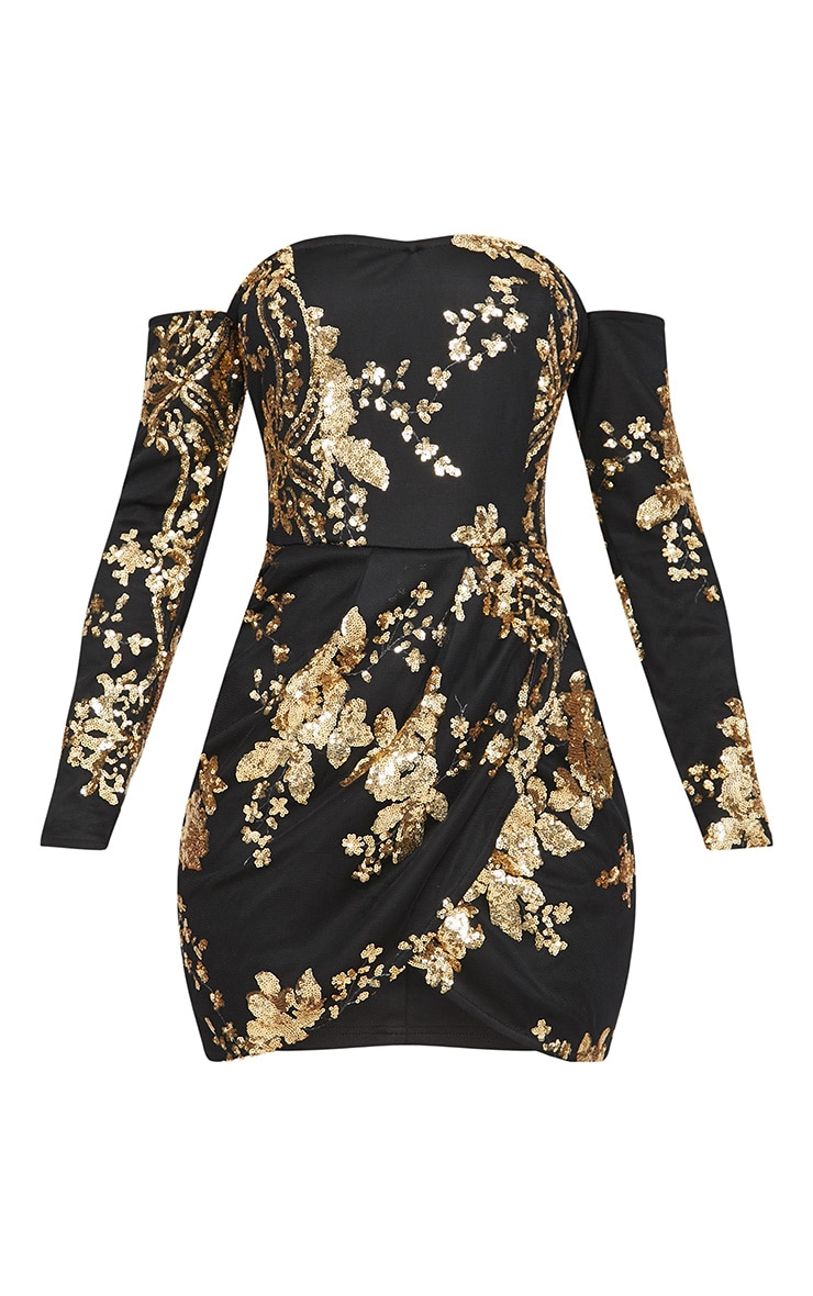 Black Floral Sequin Bardot Bodycon Dress 3